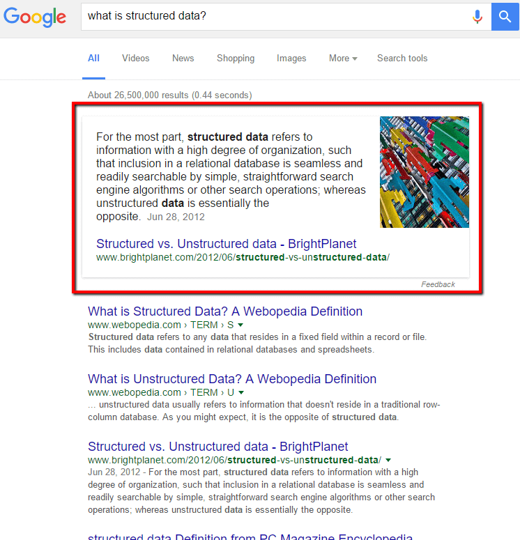 Example of Google Quick Answer from structured data - V9 Blog